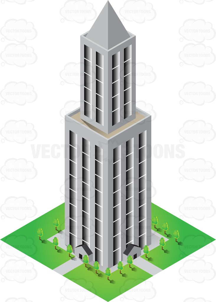 High Rise Concrete Tower With Garden Below Cartoon Clipart.
