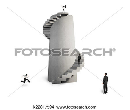 Stock Photo of businessman oversee men with concrete spiral.