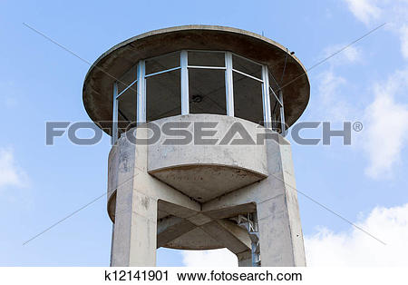 Stock Photography of Concrete watch tower in Everglades Florida.