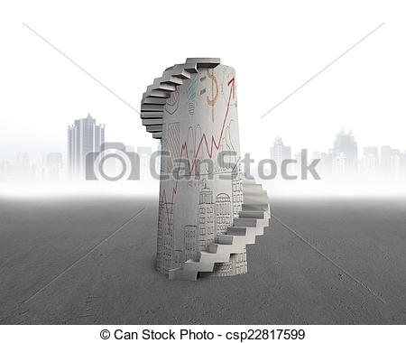 Stock Illustration of doodles concrete spiral tower on city.
