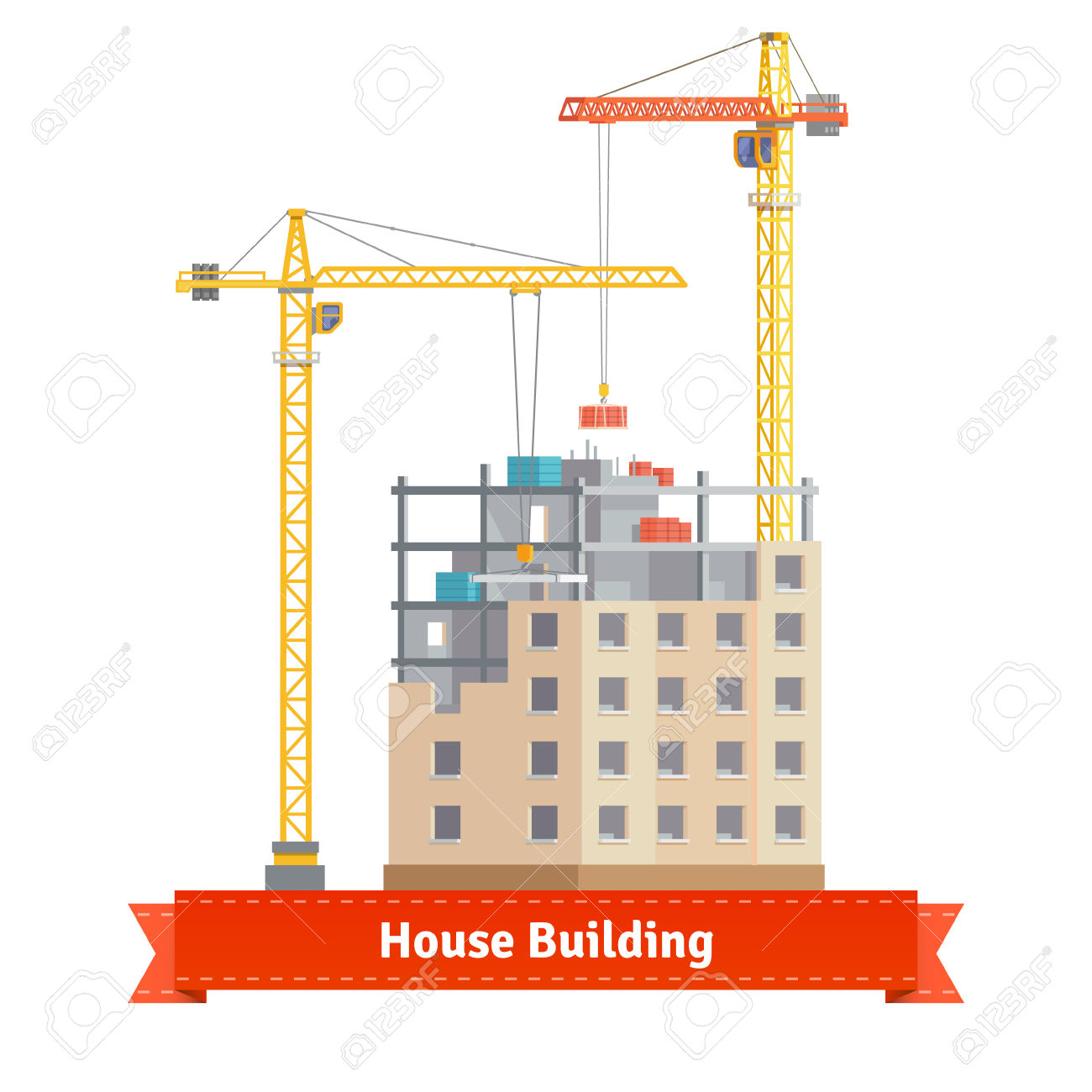Construction Of Tenement House With Two Tower Cranes Lifting.