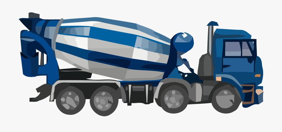 Cement Truck Basic Blue Clipart Png.