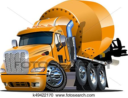 Cartoon Mixer Truck Clipart.