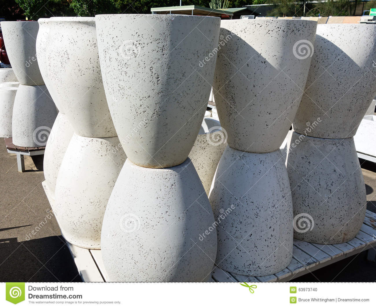 Concrete Planter Pots Stock Photo.