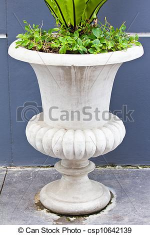 Stock Photo of Concrete Decorative Planter.