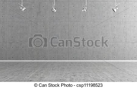 Clip Art of modern interior with concrete wall panels csp13476529.
