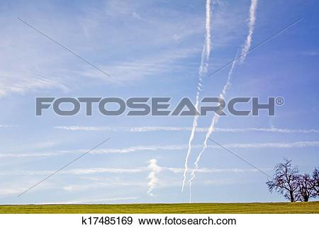 Stock Photograph of Condensation trails on sky k17485169.