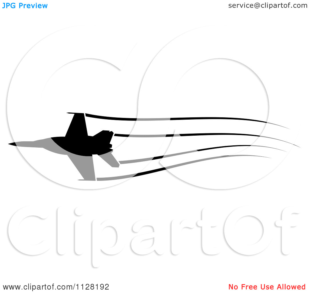 Clipart Of A Black Silhouetted Airplane And Contrails 1.