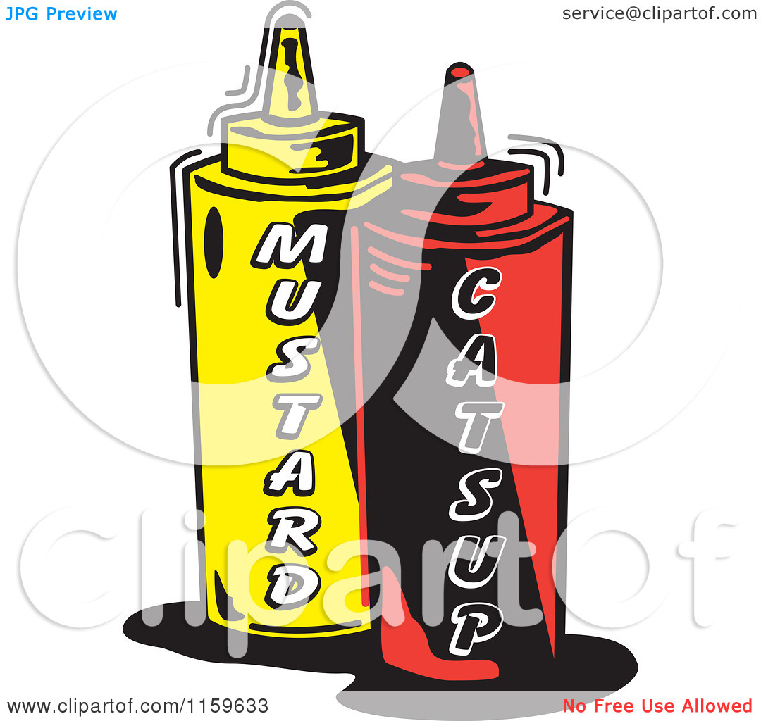 Cartoon of Mustard and Catsup Condiment Bottles.