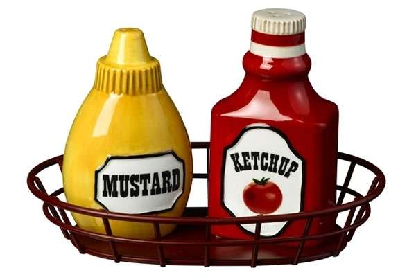 Condiment Shaped Seasonings Ketchup And Mustard Salt And Pepper.