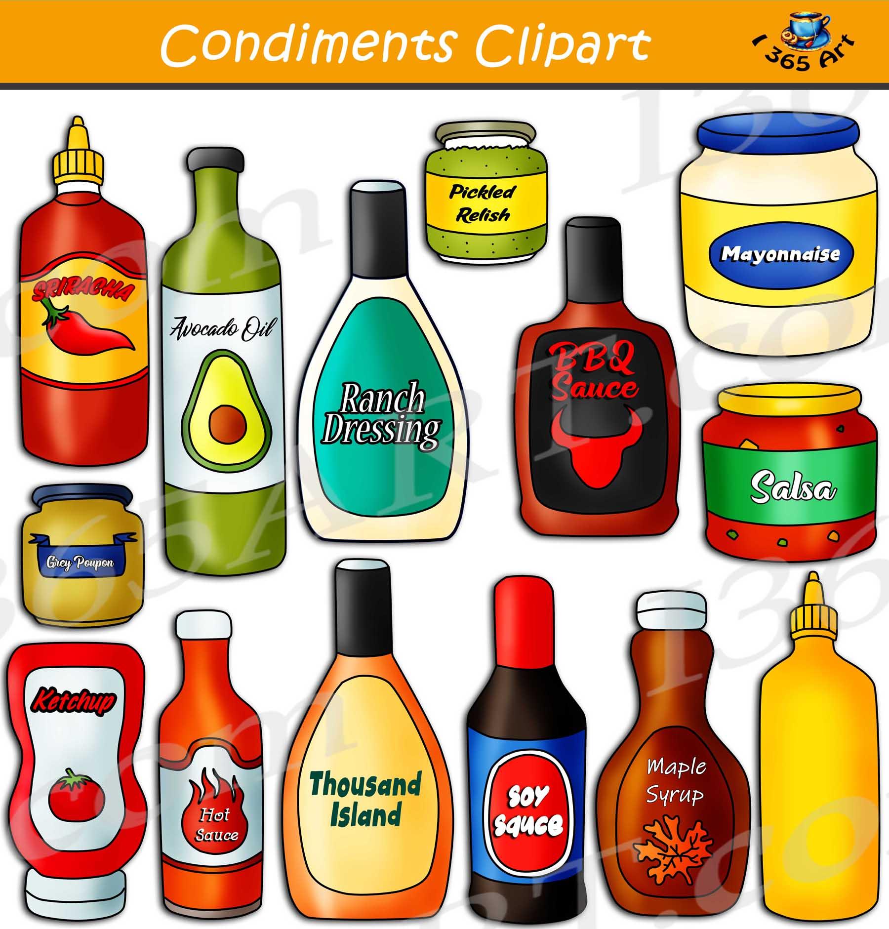 Condiments Clipart Set Download.