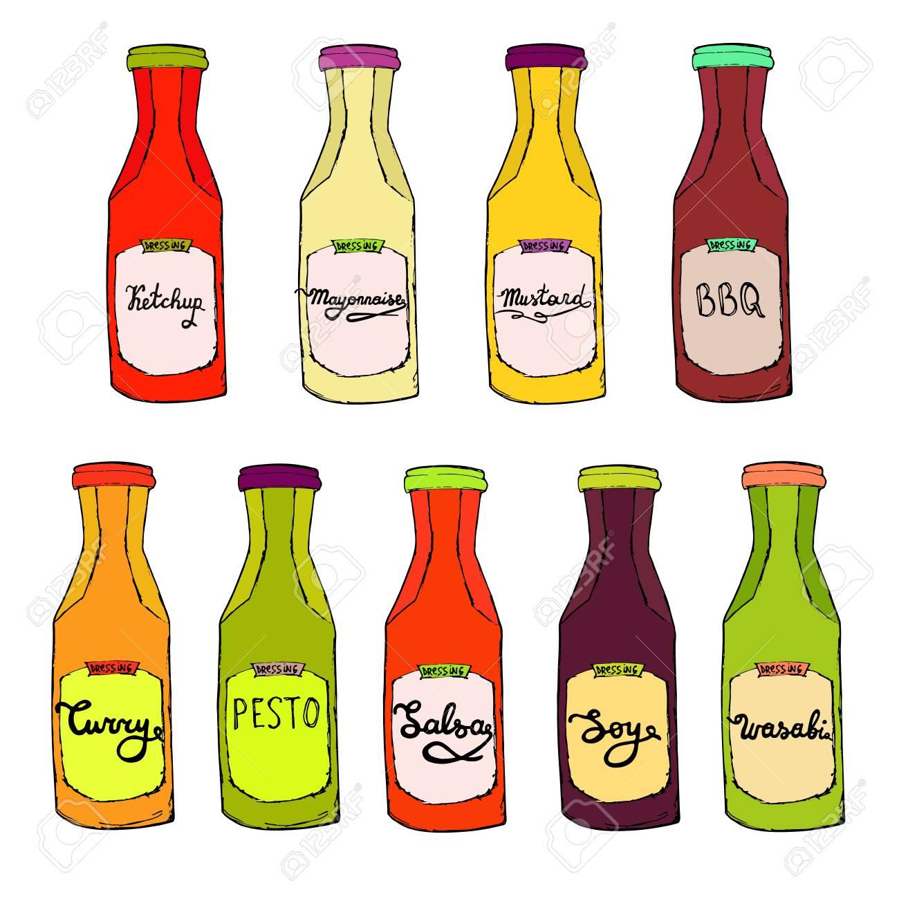 Condiments set. Ketchup bottle, Mayonnaise jar, BBQ, Curry, Salsa,...
