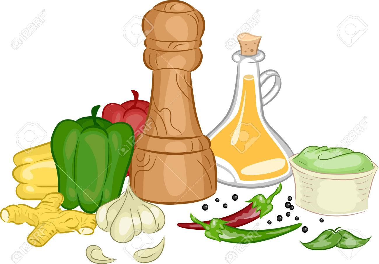 Illustration Featuring Different Types of Condiments and Spices.