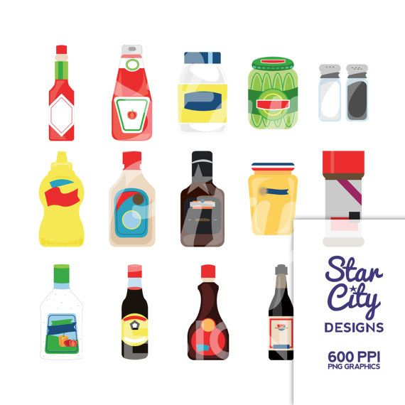 Condiments Clipart for scrapbooking ketchup by StarCityDesigns.