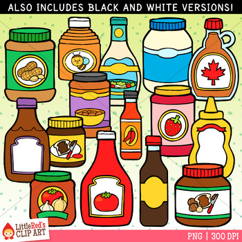 Condiments and Sauces Food Clip Art.