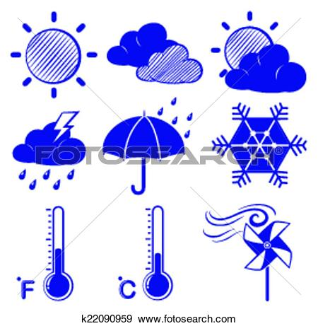 Clip Art of Different weather conditions k22090959.