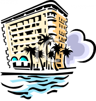 Vintage Hotel By the Ocean Clip Art.