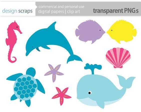 sea life clip art graphics, whale dolphin fish sea turtle starfish.