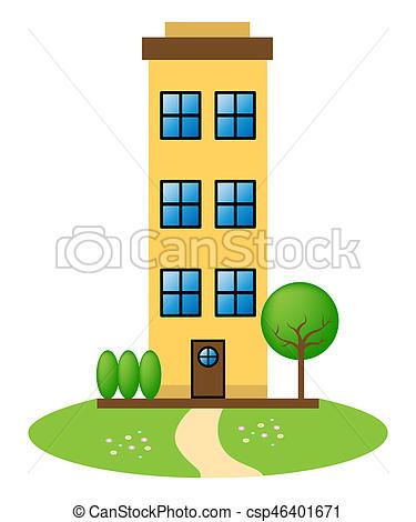 Apartment Building Represents Condo Property 3d Illustration.