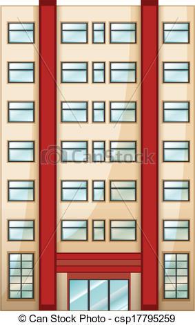 Clipart Vector of A tall condominium.