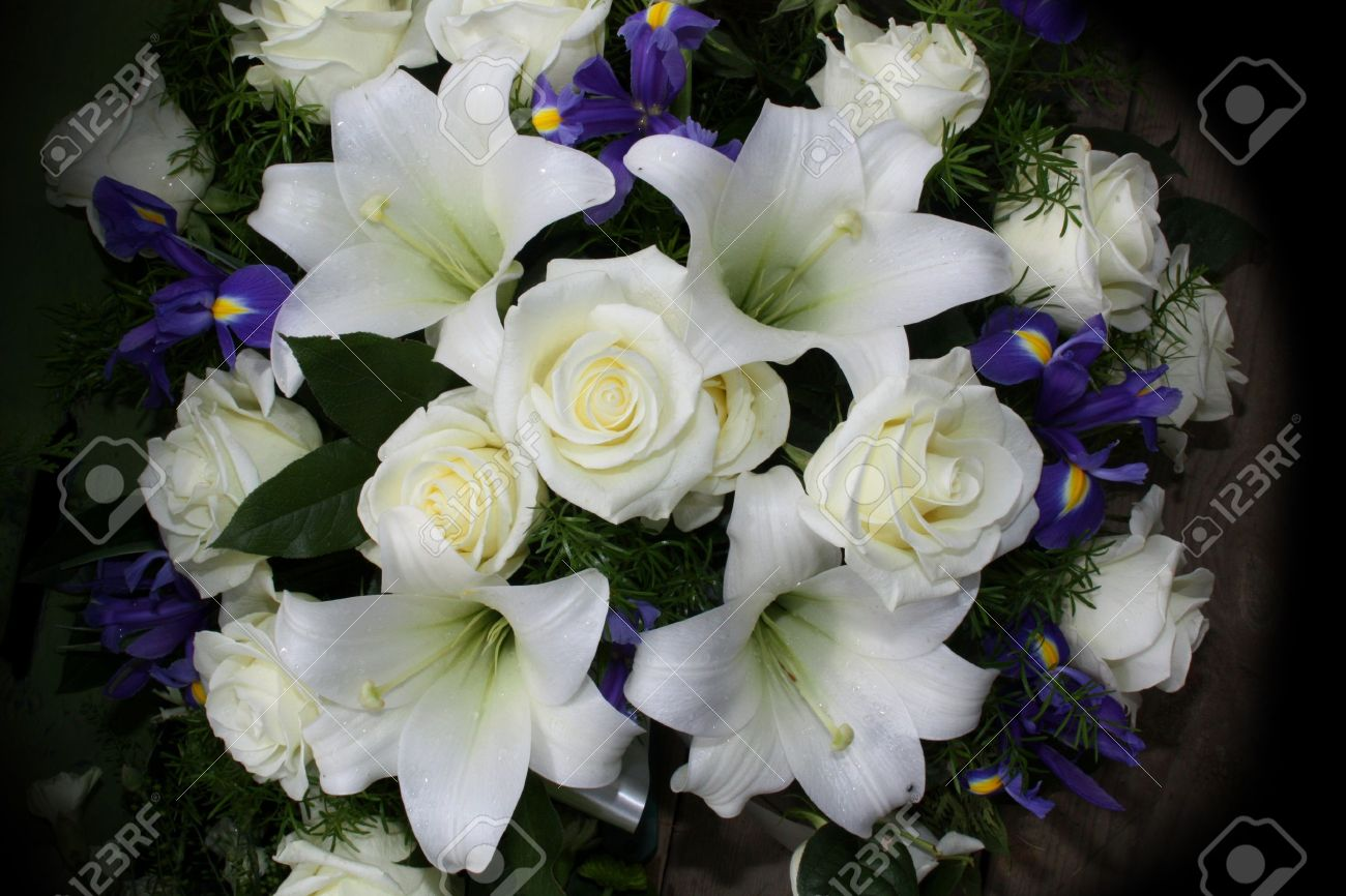 Funeral Flowers For Condolences Stock Photo, Picture And Royalty.