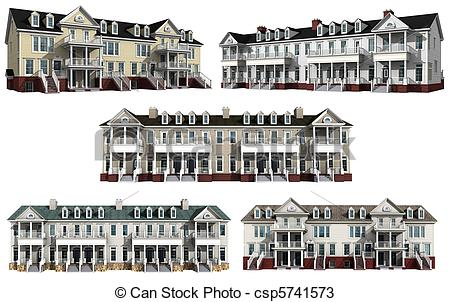 Drawings of Collage with 3d models of condos.