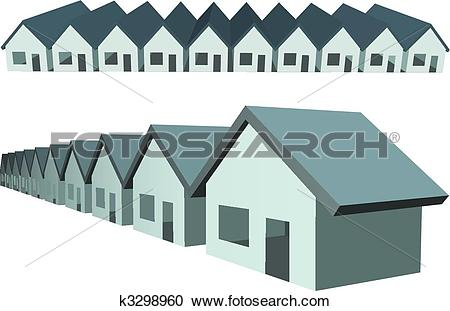 Clipart of Row houses condos construction real estate k3298960.