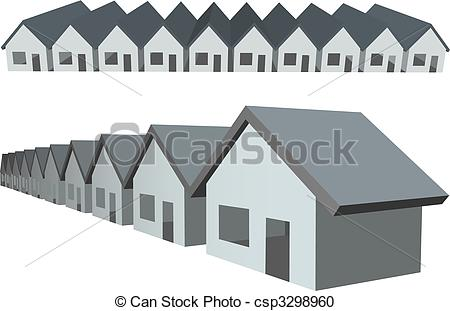 Vector Clipart of Row houses condos construction real estate.