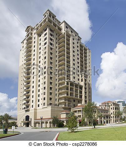 Stock Image of multi story luxury condos.