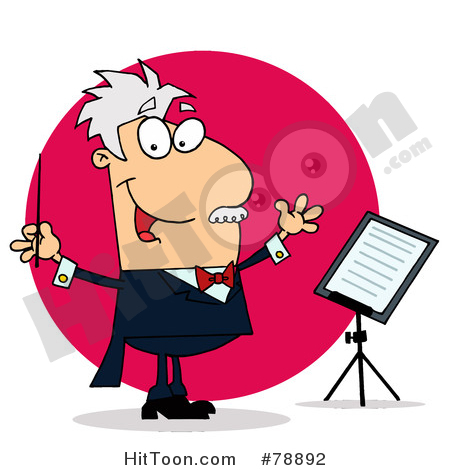 Conductor Clipart #78892: Caucasian Cartoon Conducting Man by Hit Toon.