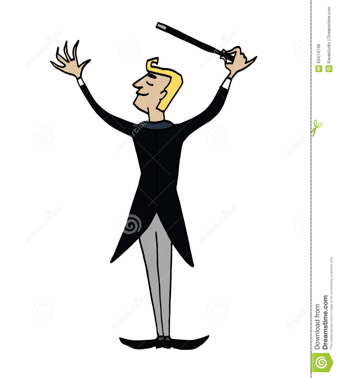 Cartoon Conductor. Back Of A Man Conducting An Orchestra. Stock.