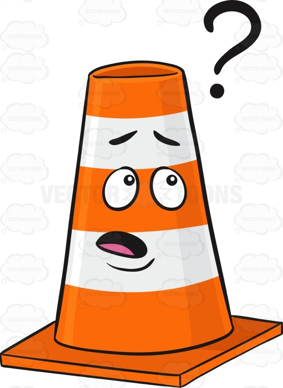 Nerd Looking Traffic Cone Character Wearing Eye Glasses Emoji.