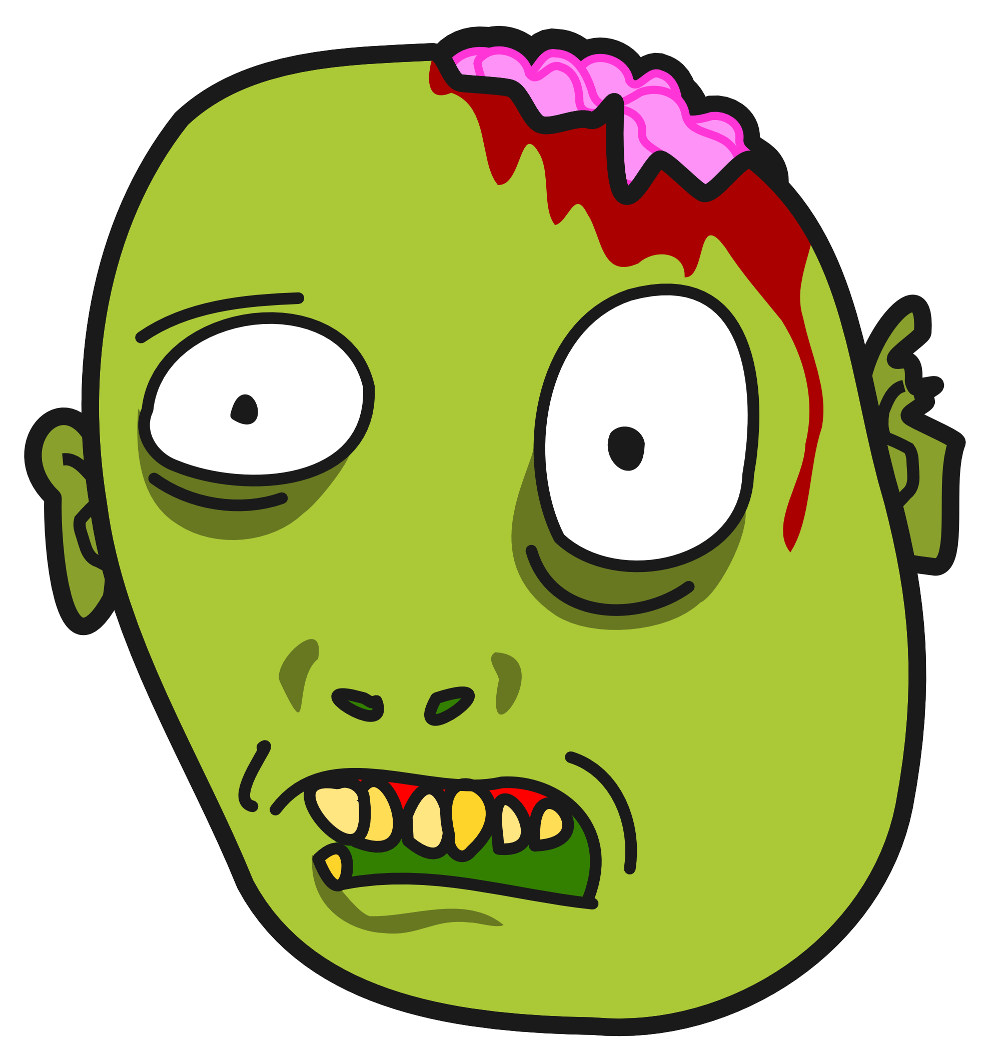 Zombie face clipart.