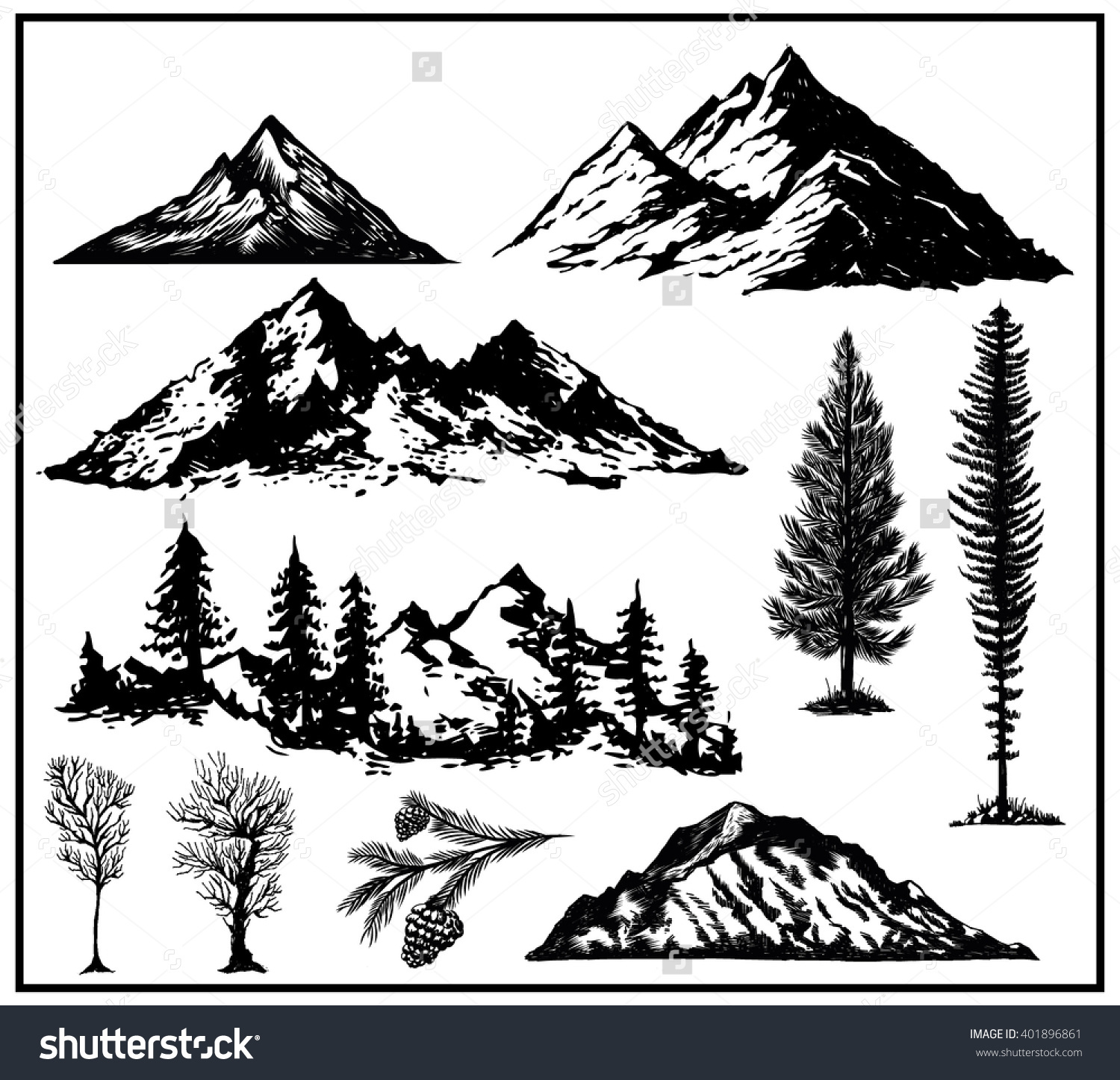 Outdoor Art Hand Drawn Nature Pines Stock Vector 401896861.