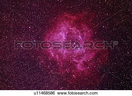 Stock Images of Rosette Nebula in the constellation Monoceros.