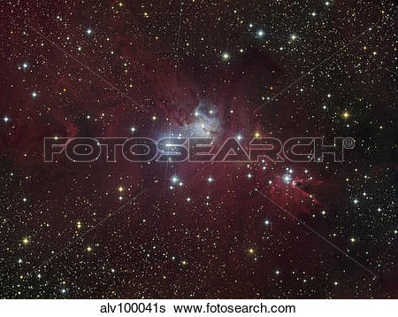 Stock Images of The NGC 2264 region showing the Cone Nebula.