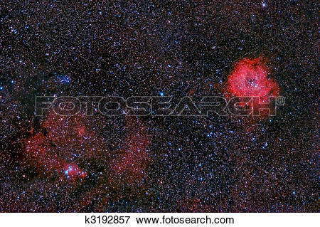 Picture of Rosette and cone nebulae in the milky way k3192857.
