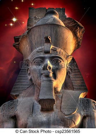 Stock Image of Colossus of Ramses II and Cone Nebula (Elements of.