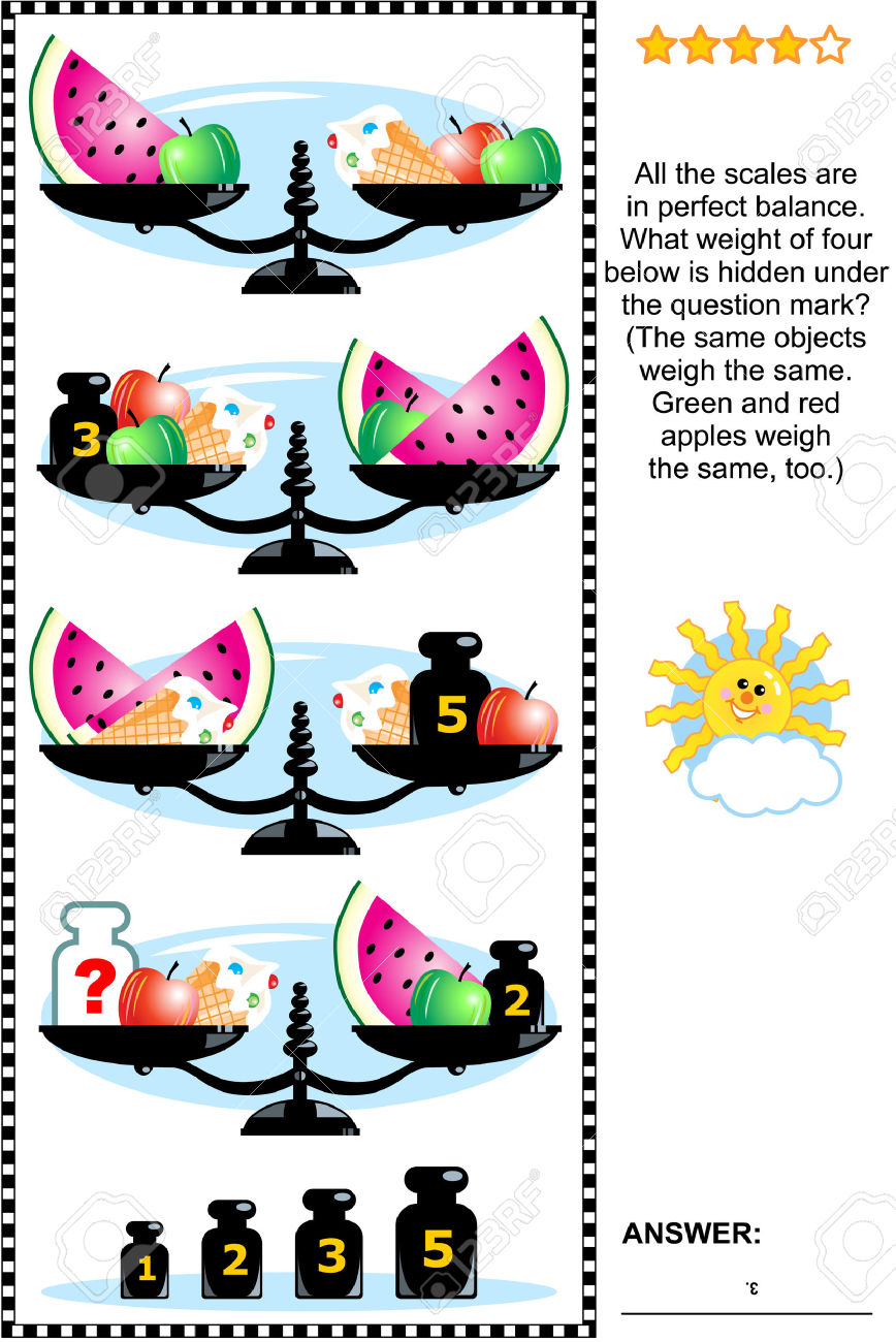 Visual Math Puzzle With Scales, Weights, Apples, Ice Cream Cones.