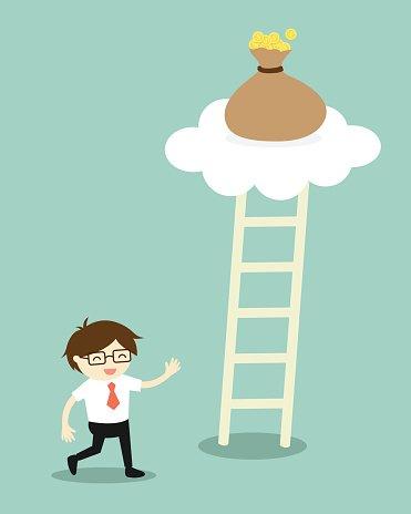 Empresário Vai Para Subir A Escada Para Conseguir Stock Vector.