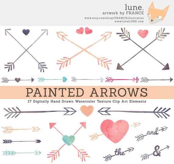 3 FOR 2. Arrow Clipart. Painted Watercolor Clipart. Hearts.