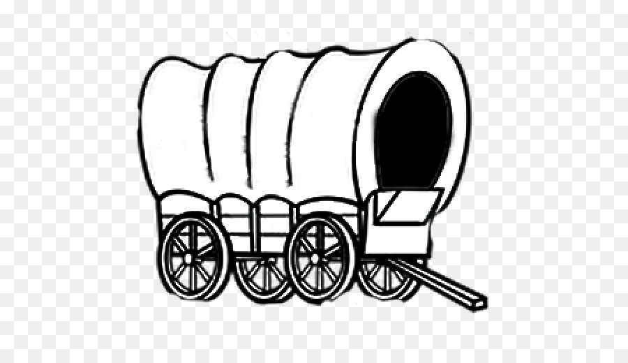 Covered Wagon Black And White png download.