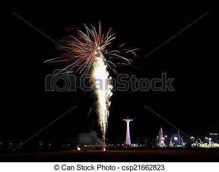 Stock Photo of Coney Island Beach Fireworks.
