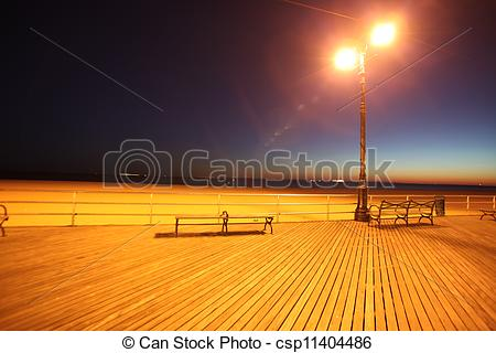 Pictures of classic NY, evening in Brighton Beach of Coney Island.