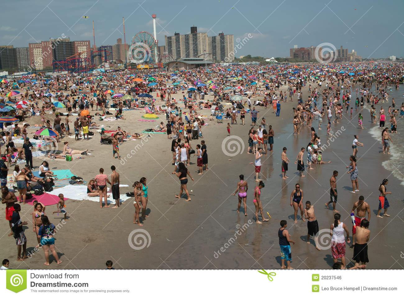 Coney Island Beach Weekend NYC USA Editorial Photo.