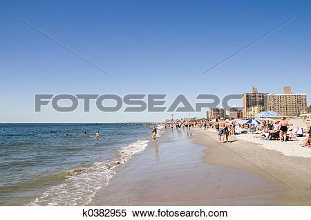 Stock Image of Coney Island beach. k0382955.