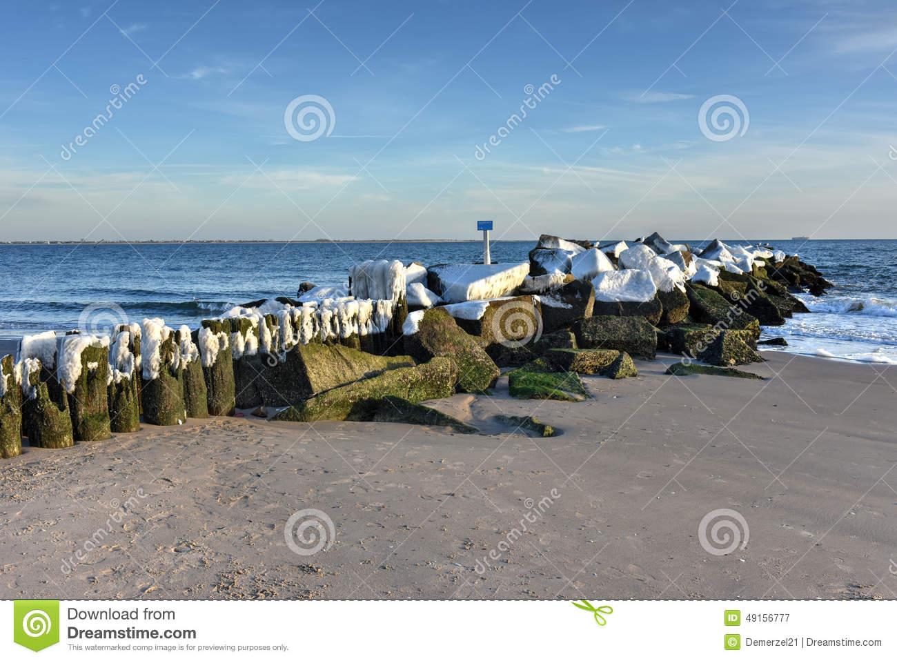 Coney Island Beach, Winter Stock Photo.