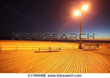 Stock Images of classic NY, evening in Brighton Beach of Coney.