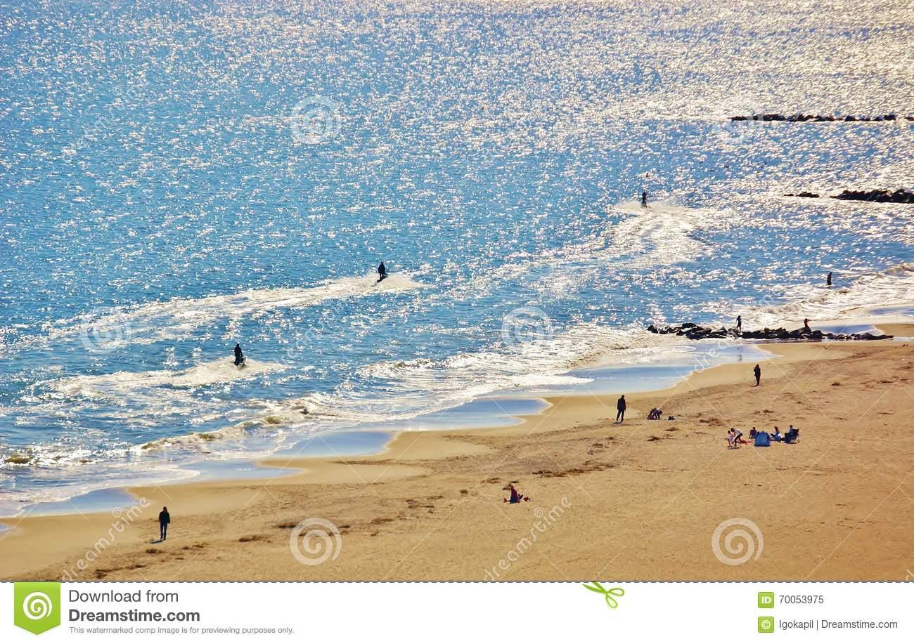 Aerial View Coney Island Beach New York Panorama Stock Photo.