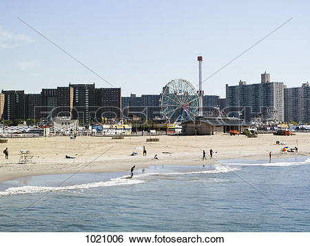Stock Images of The beach and amusement park, Coney Island, New.